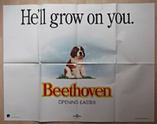 Beethoven. RARE ADVANCE Original UK Quad Poster, He'll Grow on YOU!!, '92